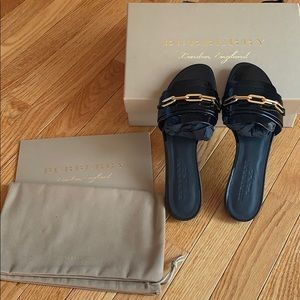 Authentic Burberry patent leather slides